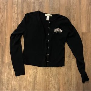 Black Cardigan with Novelty Tiara Embroidery